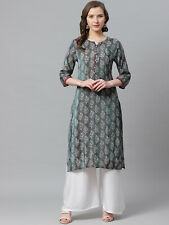 Indian Women Kurta Kurti Green & White Printed Top Tunic Ethnic Causal Dress