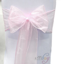 1 10 25 50 100 Organza Chair Seat Cover Sash Bow Wedding Party Wider Decorations