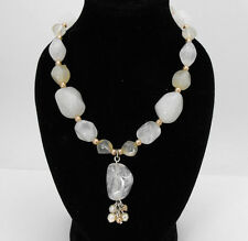 """Vintage Frosted Nuggety Lucite & Faux Pearl Spacer Necklace 18"""" - 21"""" Length"""