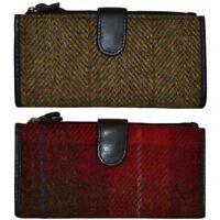 Harris Tweed & Leather Ladies Purse Red Tartan or Brown Herringbone