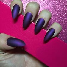 Hand Painted Full Cover False Nails. Stiletto Matte Purple Nails. 24 Nail Set.