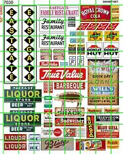 7030 DAVE'S DECAL HO SCALE SMALL SHOPPING CENTER SIGN SET EASTGATE BBQ LIQUOR