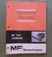 GENUINE 1972 MASSEY-FERGUSON MF 760 MF760 COMBINE OPERATORS MANUAL VERY CLEAN