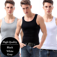 3-6 Mens 100% Cotton A-Shirt Tank Top Ribbed Undershirt Wife Beater Black Muscle