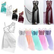 Girls Floral Lyrical Modern Ballet Dance Dress Ballroom Party Dancewear Costume