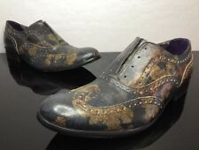 Robert Graham Floral Oxford Laceless Italian Handmade Dress Shoes Retail $388