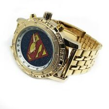 Chunky Large Gold Iced Out Techno Round Bezel Resizable Strap Bling Watch