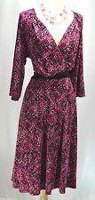 Igigi Geo Dress Matte Jersey Slinky 3/4 slv Sexy Dress knee stretch SZ 14 16 NEW