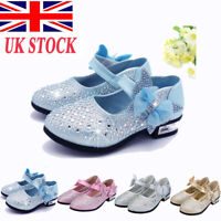 Girls Glitter Sandals Kids Princess Mary Janes Shoes Wedding Party Dress Ballet