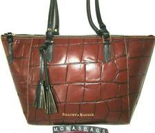 Dooney & Bourke Maxine Embossed Cognac & Black Leather Large Tote Bag NWT $348