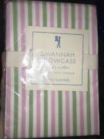 NEW POTTERY BARN KIDS SAVANNAH PILLOWCASE STANDARD PINK GREEN