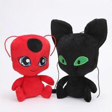 2PCS Miraculous TIKKI & PLAGG Plush Zag Heroez Red Ladybug Black Cat Doll 25CM