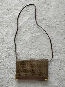 Fendi Zucchino 80's Vintage Vinyl Clutch Crossbody Bag Shoulder Purse Folder