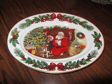 "1990 Franklin Mint Night Before Christmas Oval Platter Santa 12"" x 16"""
