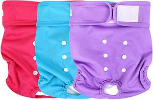 "Wegreeco Washable Female Dog Diapers, Small Newborn 10.5"" Waist Pack of 3"