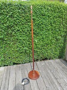 Vintage Mid Century Teak & Brass Standard Floor Lamp