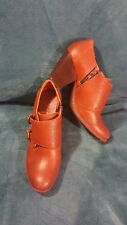 Women's Born Concept Brown Leather Heels Booties Size 7 1/2 M