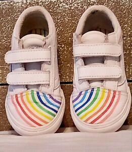 Vans Toddler Old Skool Shoes Flour Shop Leather Rainbow White Size 7 Good Cond!