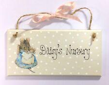 Handpainted Beatrix Potter Hunca Munca Baby Mouse Regalo Personalizzato Porta Placca