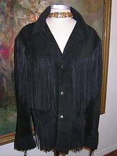 SCHOTT Western Fringe JACKET Black Suede UNISEX 44 Coat BILLY MARTIN Mad.Ave NYC