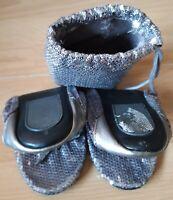 Portable Travel Sequin Ballet Flats Size 6