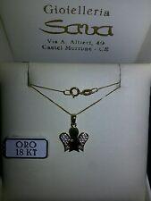 Collana veneziana cm 45 e ciondolo angelo, oro 750 18 kt e zirconi New