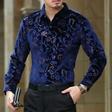 Luxury Homme highquality Velvet Cotton Floral  Print Men Casual Dress Tops Shirt