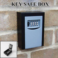 4 Digit Wall Mounted Weather Resistant Combination Key Safe Box Lock Grey Black