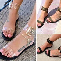 Women Roman Sandals Transparent Flat Summer Gladiator Open Toe Clear Jelly Shoes