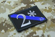"""TWO ASS TO RISK K 9 K9 THIN BLUE LINE POLICE PATCH HOOK BACKING 3 X 2"""" CM  P148"""