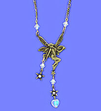 Antiqued 22k Gold Plated Vintage Look Fanciful Fairy Necklace w Crystal Accents