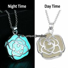 Xmas Gift For Her Turquoise Rose Glow In The Dark Silver Necklace Chain Women UK