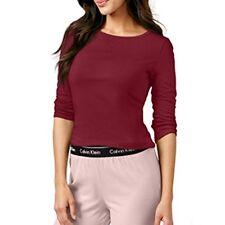 Calvin Klein Top Sleep Shirt Comfort Cotton 3/4 Sleeve Cranberry Size S NWT $50