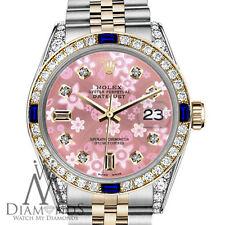 Rolex 26mm Datejust 2 Tone Peach Flower Sapphire & Diamond Bezel 18K & SS Watch