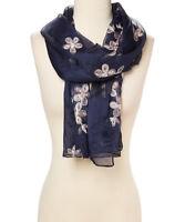 Silk Blend Scarf Embroidery Shawl Wrap Floral Women Summer Shawls Ladies Scarf