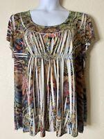 Unbranded Womens Plus Size 2X Multicolor Boho Pattern Blouse Short Sleeve