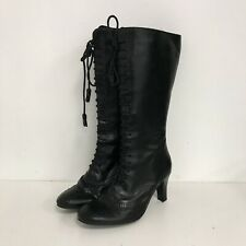 New Clarks Heeled Boots UK 6 Black Leather Lace Up Smart Going Out 341076