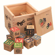 27pcs Alphabet Wood Block Building Letters Number Bricks Educational Toy Set Kid