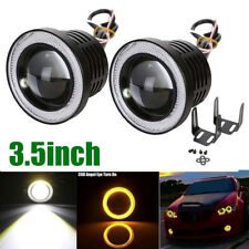 "2x 3.5"" Inch COB LED Fog Light Projector Amber Angel Eyes Halo Ring DRL Car Lamp"