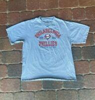 Majestic Philadelphia Phillies Tee Shirt Mens XL Gray MLB Baseball Spellout Logo