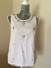 New J.CREW Collection Embellished Necklace Shirt Blouse 2 White Sleeveless RARE!