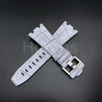 28MM Alligator Leather Watch Strap Fits For Audemars Piguet Gray White Band 42MM
