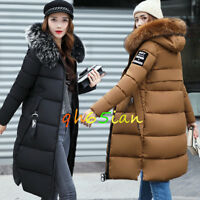 New Women winter coat Down jacket Ladies fur hooded jackets Long puffer parka UK