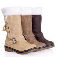 Women's Winter Boots Snow Fur Warm Insulated Waterproof Midi Calf Ski Shoes Size