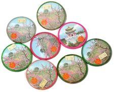 New listing 8 Vtg Pocket Mirrors Asian Inspired Clover Trade Mark Rumdul Flower Pagodas
