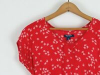 Old Navy 100% Rayon Apple Print Red Blouse-- Women's Size XS