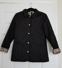 WOMENS BURBERRY BRIT QUILTED JACKET COAT BLACK XS $650