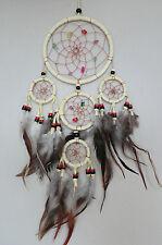 12 cm x 40 cm Creme Leder Dreamcatcher Traumfänger Indianer Federn Perlen Träume
