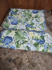 WAVERLY-Floral-FLOURISH PORCELAIN 2 King-Pillow Shams-Yellow/Blue/Green-Stripes