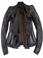 RICK OWENS Black Leather Brown Shearling Fur Robot Architectural Jacket US 10